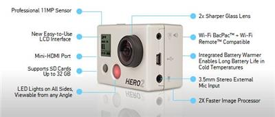 HD HERO2 Surf Edition - hjemkamera,  11MP, full HD 1080p, bruker SD kort